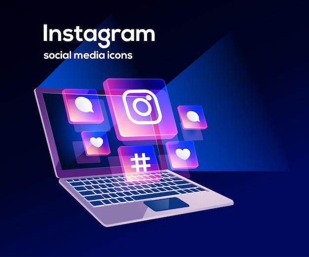 Instagram ikony mediów społecznościowych z symbolem laptopa