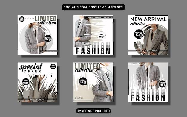 Instagram moda promo social media zestaw szablonów postów lub ulotek
