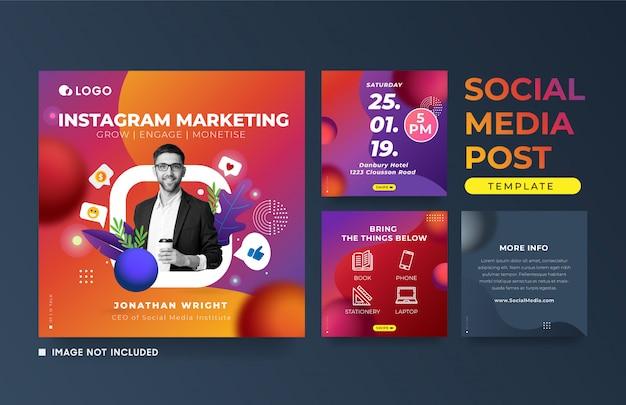 Instagram post marketing event reklamowy szablon transparent kwadratowych