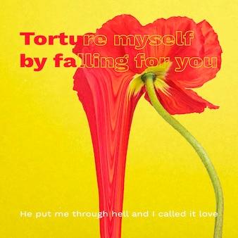 Instagram post szablon wektor, estetyczny kwiat z romantycznym cytatem