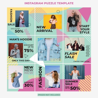Instagram puzzle fashion sale social media szablon projektu post