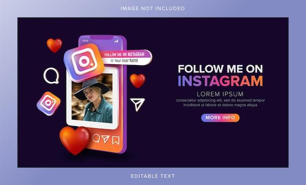 Instagram śledź mnie w koncepcji mobilnej