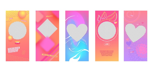 Instagram story kolorowy streszczenie szablon strony aplikacji mobilnej na pokładzie zestawu ekranowego. nowoczesny różowy fioletowy żółty wzór. graficzny interfejs promocji w tle mediów społecznościowych.
