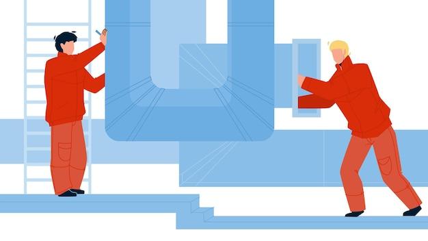 Instalacja wentylacyjna hvac lub naprawa mężczyzn wektor. pracownicy sprawdzają wentylację, rury klimatyzacji budynków. postacie chłopcy naprawa lub badanie ilustracja kreskówka płaski rurociąg przemysłu