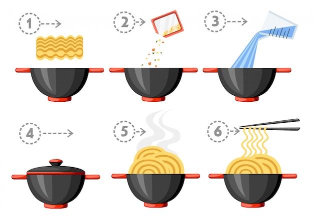 Instrukcja gotowania. makaron instant. płaska ilustracja. czarna miska i pałeczki. ilustracja na białym tle.