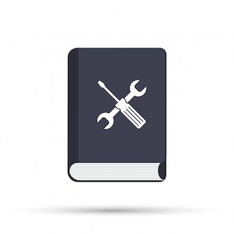 Instrukcja. ikona podręcznika użytkownika na białym tle.