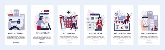 Instrukcja kupowania towarów online. infografiki do zakupów online. baner aplikacji mobilnej e-commerce. reklama i infografiki aplikacji do marketingu mobilnego. ilustracja