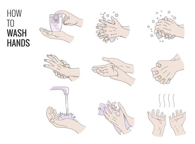 Instrukcja mycia rąk wektor. jak prawidłowo myć ręce. namydlenie i spłukanie rąk. instrukcje medyczne dotyczące mycia rąk. plakat z poradnikiem opieki szpitalnej, schemat instruktażowy. higiena osobista