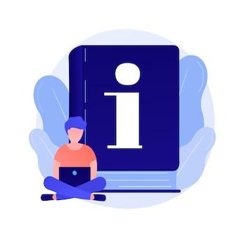 Instrukcja obsługi. mądry człowiek z laptopem studiuje podręcznik, czyta przewodnik po postaci z kreskówek. używaj terminów, poradnika, dokumentacji cyfrowej.