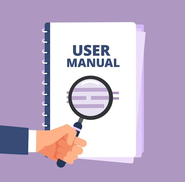 Instrukcja obsługi z lupą. dokument użytkownika i lupa. ikona wektor podręcznik, podręcznik, instrukcje i przewodnik