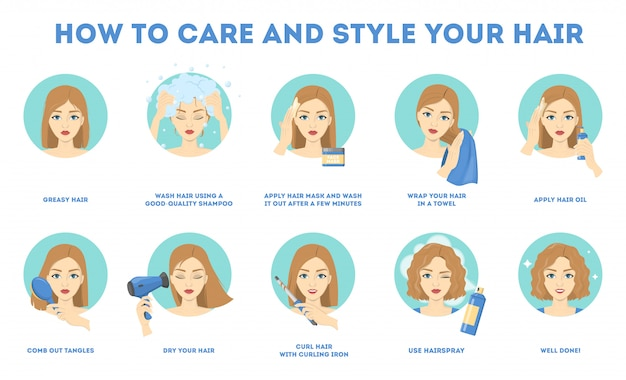 Instrukcja pielęgnacji i stylizacji włosów.