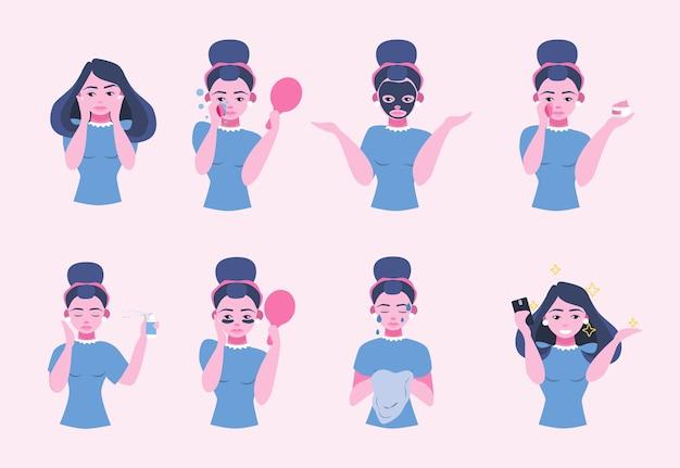 Instrukcja pielęgnacji skóry twarzy. maska i krem dla zdrowej skóry. ładna kobieta czyszczenia twarzy.