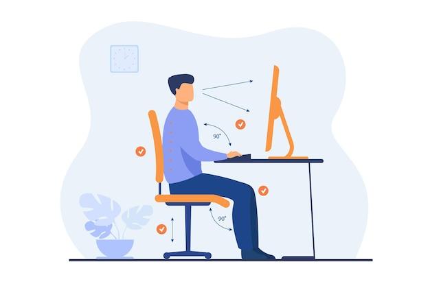 Instrukcja prawidłowego ułożenia podczas pracy biurowej płaska ilustracja. kreskówka pracownik siedzi przy biurku z właściwą postawą dla zdrowych pleców i patrząc na komputer
