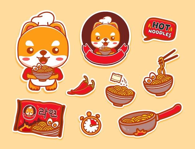 Instrukcja przygotowania i gotowania suchej zupy błyskawicznej z makaronem. makaron ramen w pucharze miski o smaku. jedz pałeczkami. płaskie ilustracji wektorowych i zestaw ikon.