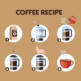 Instrukcja przygotowania kawy. przewodnik krok po kroku, jak przygotować gorący, smaczny napój na śniadanie. proces parzenia kawy w prasie francuskiej. ilustracja wektorowa w stylu cartoon