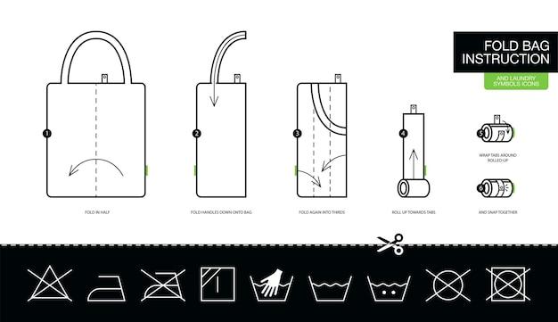 Instrukcja składania krok po kroku ekologicznej torby