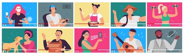 Instrukcja wideo. blogerzy, twórcy treści i wpływowi vlogerzy na filmy wideo w interfejsie odtwarzacza.