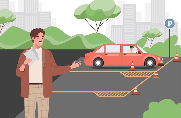 Instruktor samochodowy uczy młodego człowieka prowadzenia samochodu w trakcie