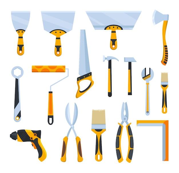 Instrument budowniczy. duża kolekcja płaskich ikon narzędzi ręcznych i elektrycznych dla pracowników budowlanych.