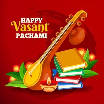 Instrument i książki festiwalu vasant panchami