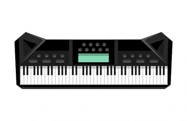 Instrument muzyczny na klawiaturze. odosobniony wizerunek syntezator. ilustracja - sprzęt muzyków. narzędzie dla miłośnika muzyki
