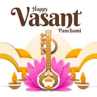 Instrument muzyczny vasant panchami i kwiat lotosu
