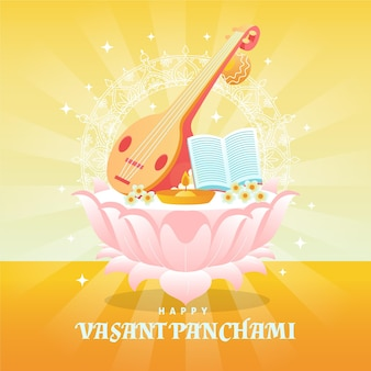 Instrument muzyczny vasant panchami i promienie słoneczne