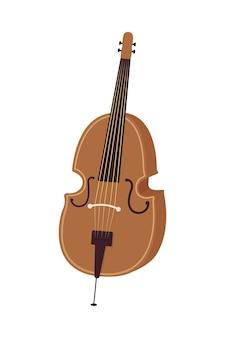 Instrument muzyczny wiolonczela pół płaski kolor obiektu wektorowego