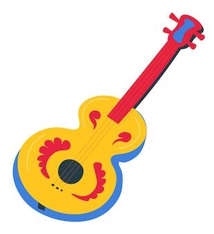 Instrument muzyczny z elementami dekoracyjnymi na elementach drewnianych. na białym tle gitara akustyczna muzyka lub wykonawcy. odtwarzanie piosenek flamenco lub latynoskich, projektowanie obiektów do muzyki, wektor w stylu płaskim