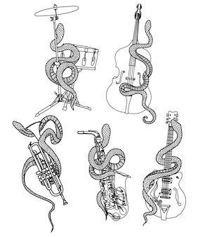 Instrument muzyczny z tatuażem i rysunek ręki węża i szkic