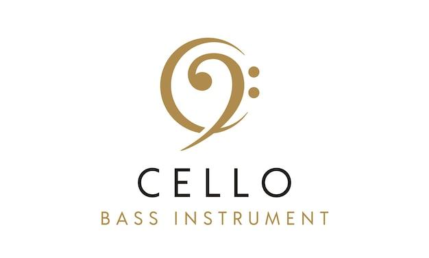 Instrument wiolonczeli / basu z początkowym logo c