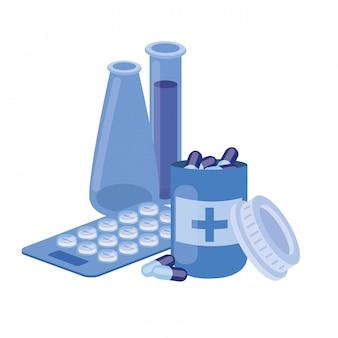 Instrumenty laboratoryjne z lekami na białym tle