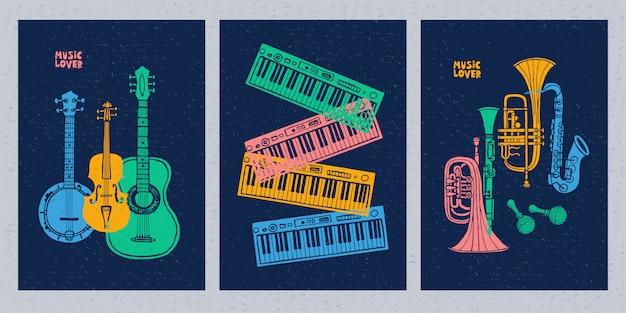 Instrumenty muzyczne, gitara, skrzypce, skrzypce, klarnet, banjo, puzon, trąbka, saksofon