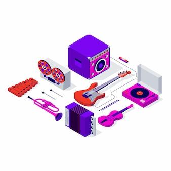 Instrumenty muzyczne, ilustracja izometryczna, zestaw ikon 3d