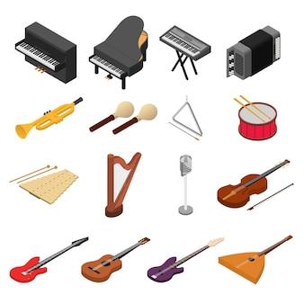 Instrumenty muzyczne kolor ikony zestaw widok izometryczny rock, jazz i klasyczny dźwięk. ilustracja wektorowa
