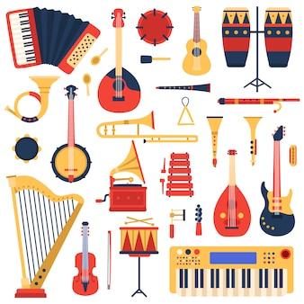 Instrumenty muzyczne. kreskówka doodle gitara muzyczna, perkusja, syntezator fortepianowy i harfa, zestaw ilustracji instrumentów muzycznych zespołu jazzowego. gramofon i ksylofon, tuba i puzon, banjo i flet