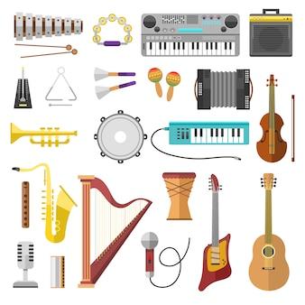 Instrumenty muzyczne wektorowe ikony