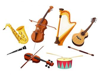 Instrumenty muzyczne wektorowe wyizolowane obiekty