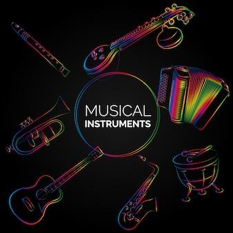 Instrumenty muzyczne wzór tła