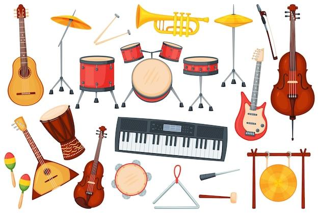 Instrumenty muzyczne z kreskówek dla orkiestry lub występu jazzowego. perkusja, gitara elektryczna, trąbka, fortepian, klasyczny instrument muzyczny wektor zestaw. różny sprzęt do rozrywki na żywo