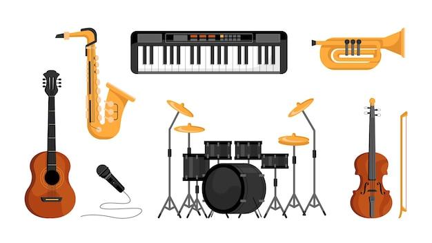 Instrumenty muzyczne zestaw ikon na białym tle płaskiej kreskówki