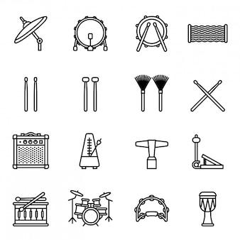 Instrumenty muzyczne: zestaw ikon perkusyjnych z białym tłem. cienka linia style vecto