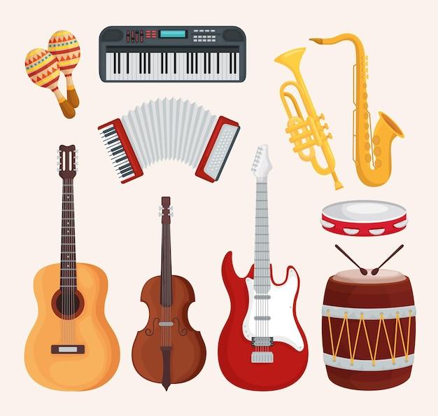 Instrumenty muzyczne zestaw ilustracji