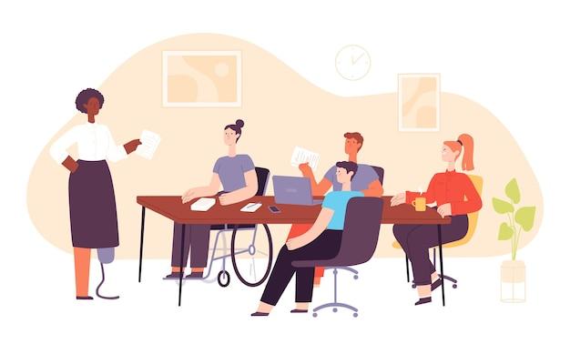 Integracyjne miejsce pracy biurowej z różnymi ludźmi na spotkaniu biznesowym. zespół pracy z niepełnosprawnym i wielokulturowym pojęciem wektora rozmowy pracownika. koledzy mający prezentację lub spotkanie