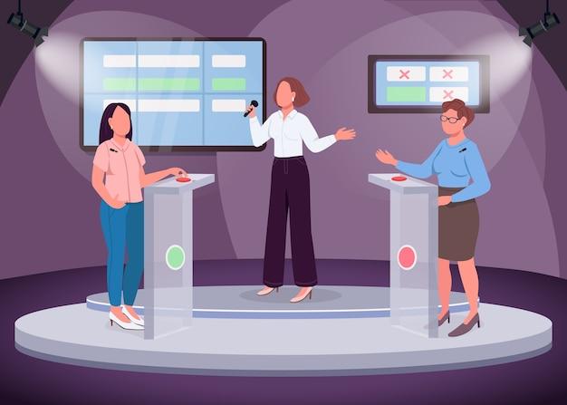 Intelektualny pokaz płaski kolor. dwie dziewczyny biorące udział w quizie. inteligentny program telewizyjny. kanał tv. osoba prowadząca kwiz. 2d postaci z kreskówek bez twarzy ze sceną w tle