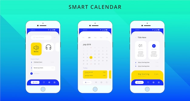 Inteligentna aplikacja kalendarza ui / ux design