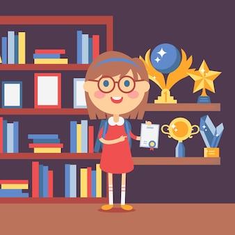 Inteligentna dziewczyna z certyfikatem szczęśliwy dumny dzieciak zdobył nagrodę w szkolnym konkursie