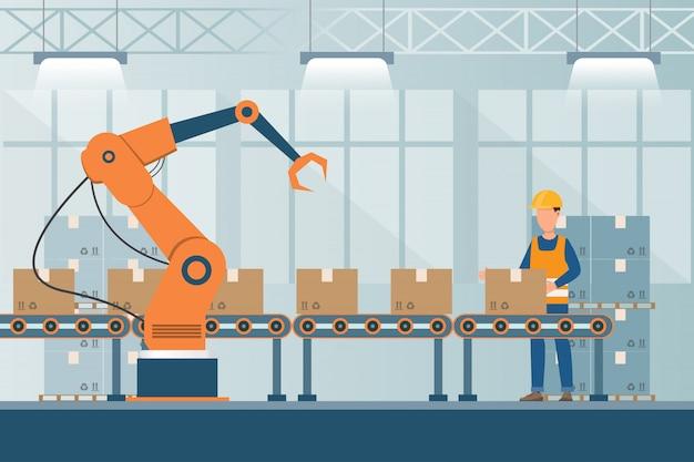 Inteligentna fabryka przemysłowa w płaskim stylu z pracownikami, robotami i pakowaniem na linii montażowej