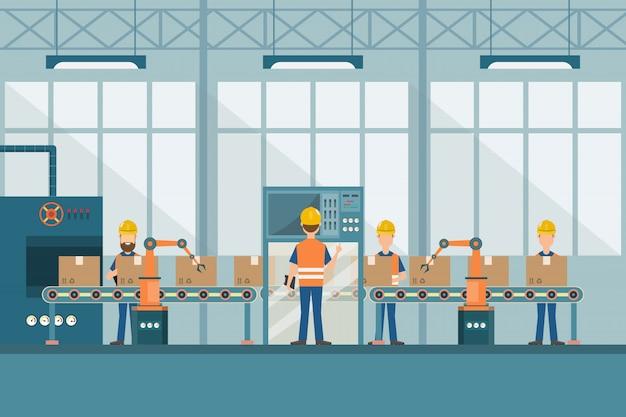 Inteligentna fabryka przemysłowa w stylu płaskiej
