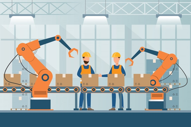 Inteligentna fabryka przemysłowa w stylu płaskim z robotnikami, robotami i pakowaniem linii montażowej